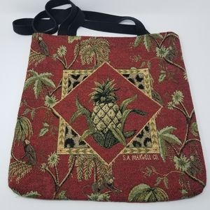 "S.A. Maxwell Tropical ""Monkeys"" Tapestry Tote Bag"